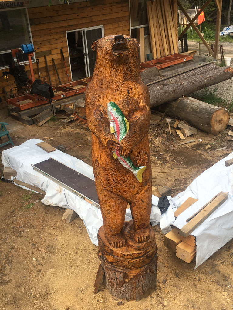 Chainsaw carvings by wayne quibell highland creek builders